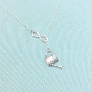 Gardener Watering Can Charm Handcrafted Lariat Necklace.