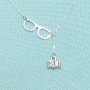 Beautiful Handcrafted GLASSES & BOOK Charm Lariat Necklace.