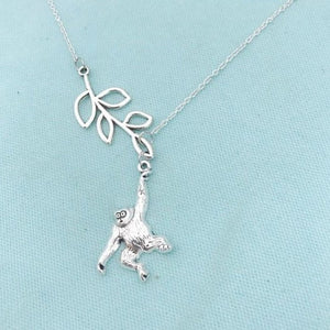 Beautiful Handcrafted Monkey Charm Lariat Necklace.