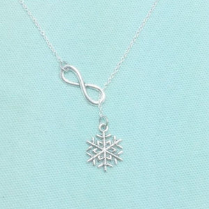 Frozen inspiration Snowflake Charm Handcrafted Lariat Necklace.