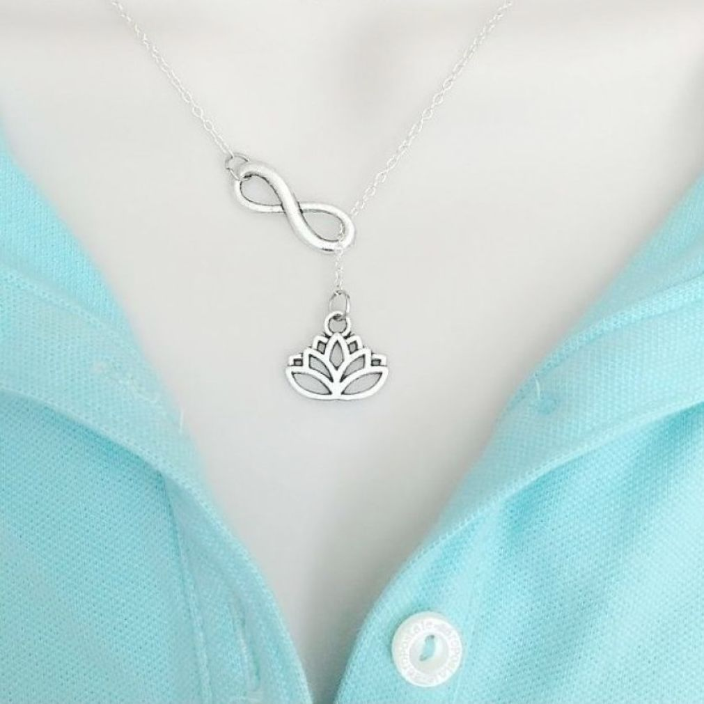 Stunning Lotus Flower Handcrafted Necklace Lariat Style.