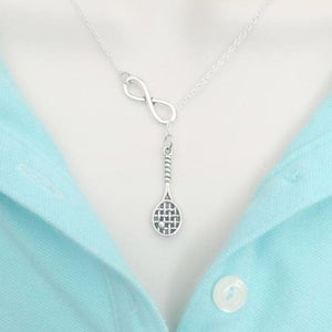 Tennis Racket with Ball & Infinity Handcrafted Necklace Lariat Style.