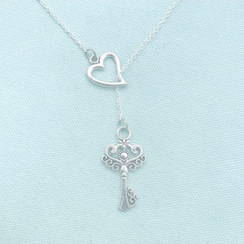 """Key to My Heart Keep it Near to Your Heart"" Lariat Necklace."