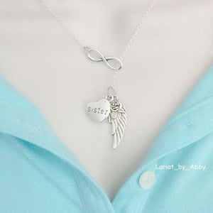 Gorgeous Handcraft Sister Guardian Angel Necklace Lariat Style.