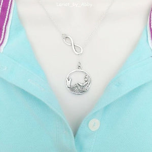 Beautiful Mermaid & Infinity Handcrafted Necklace Lariat Style.