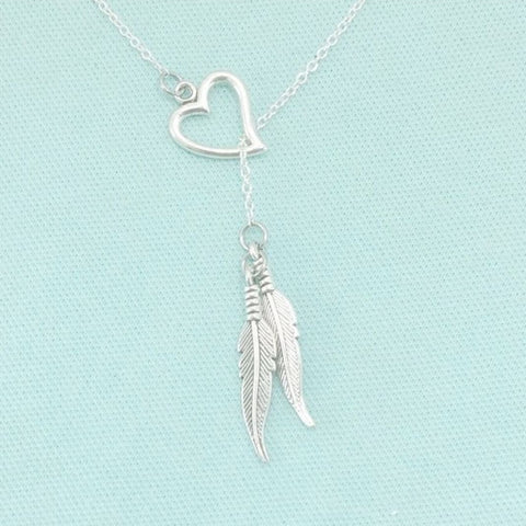 FREE WILL LOVERS: Double Feather Charms Handcrafted Necklace.
