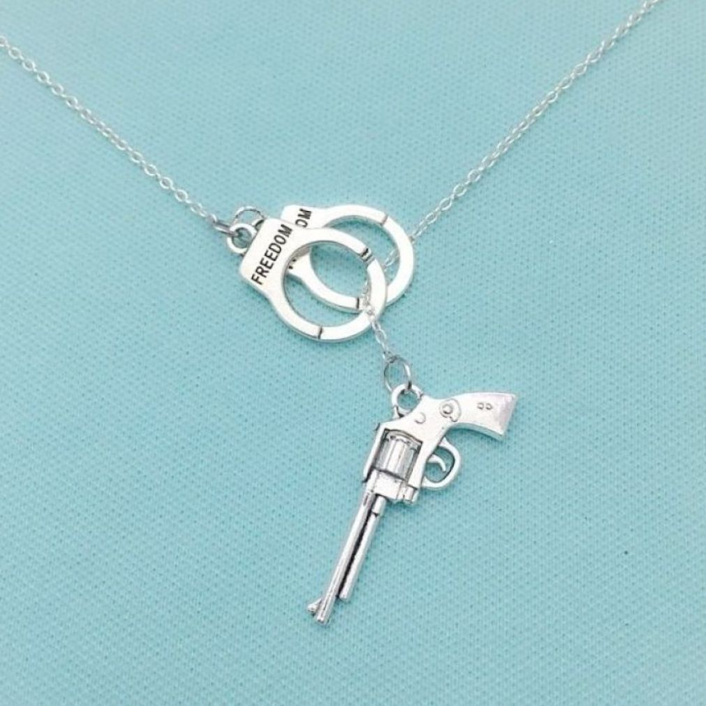 Handcuff and Gun Silver Charms Necklace Lariat Style.
