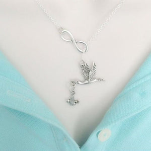 Stork w Baby Handcrafted Necklace Lariat Style. Pregnancy Gift.