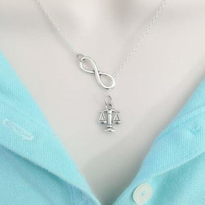 "Small LADY JUSTICE (Law Scale) Silver Charm ""Y"" Lariat Necklace."