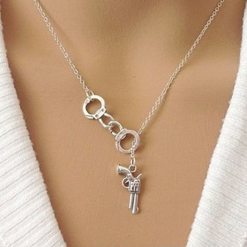 Handcrafted Handcuff n Gun Charms Necklace Lariat Style.
