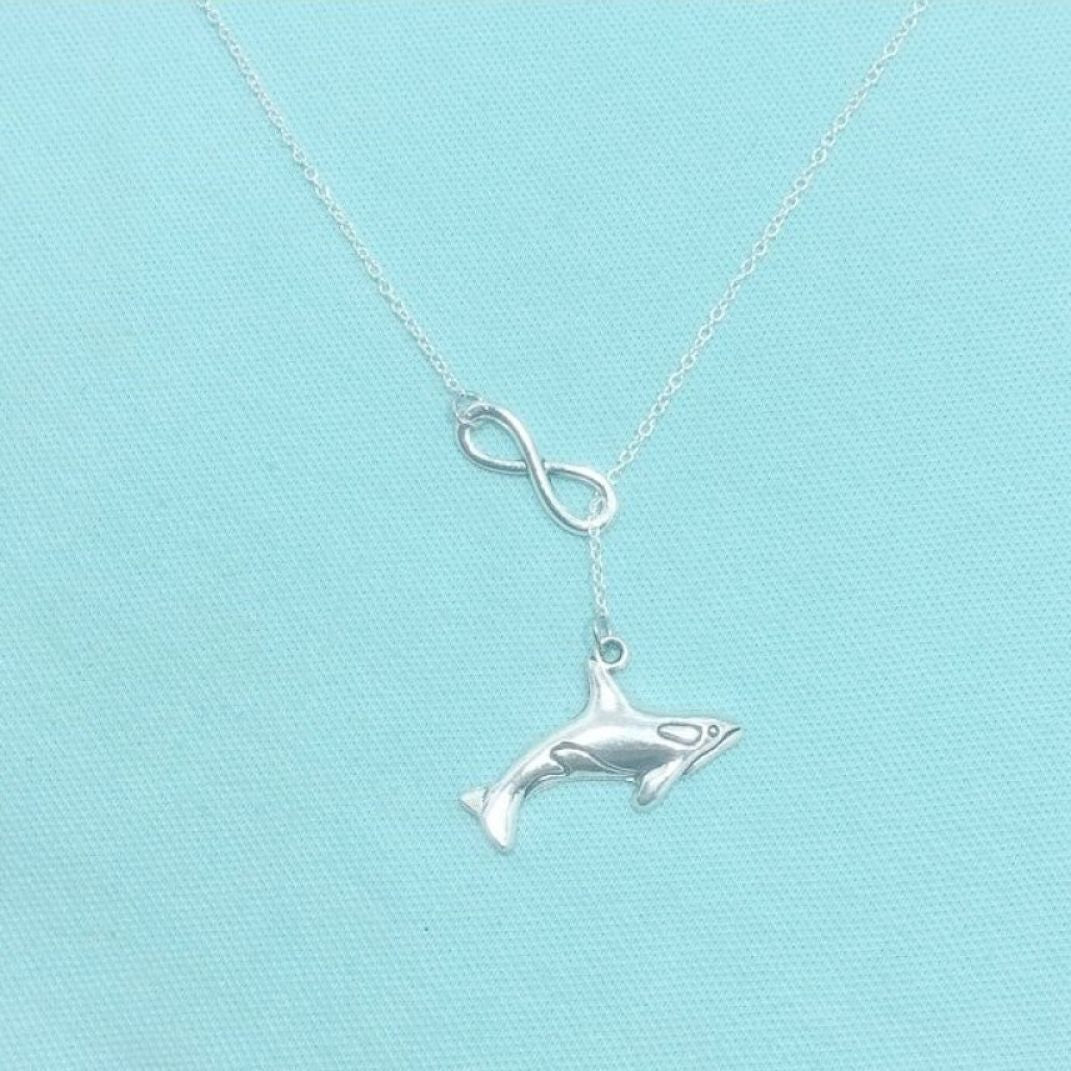Beautiful SHARK Charm Necklace Lariat Style.