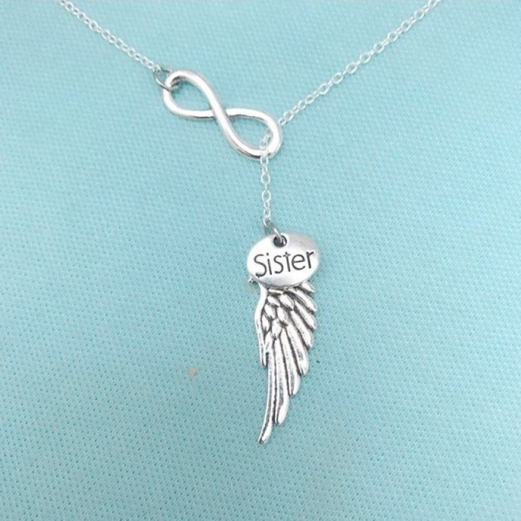 Beautiful Handcraft Sister Guardian Angel Necklace Lariat Style.