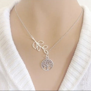 Handcrafted Tree of Life with Leaf Charms Necklace Lariat Style.