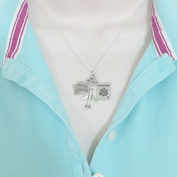 Travel Cluster Charm Silver Necklace.