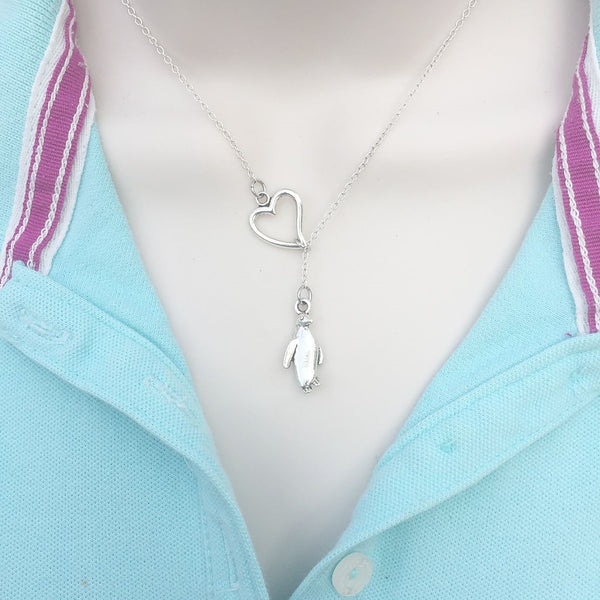 I Love Penguin Silver Lariat Y Necklace.