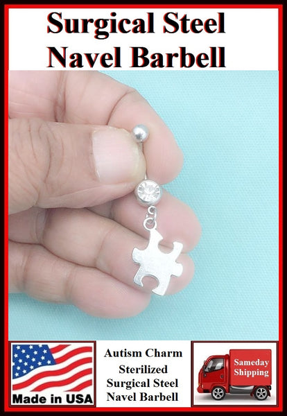 Autism Solid Puzzle Silver Charm Surgical Steel Belly Ring.
