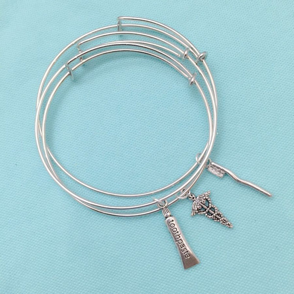 Medical Bracelet : 3 Dental Related Charms Expendable Bangles.