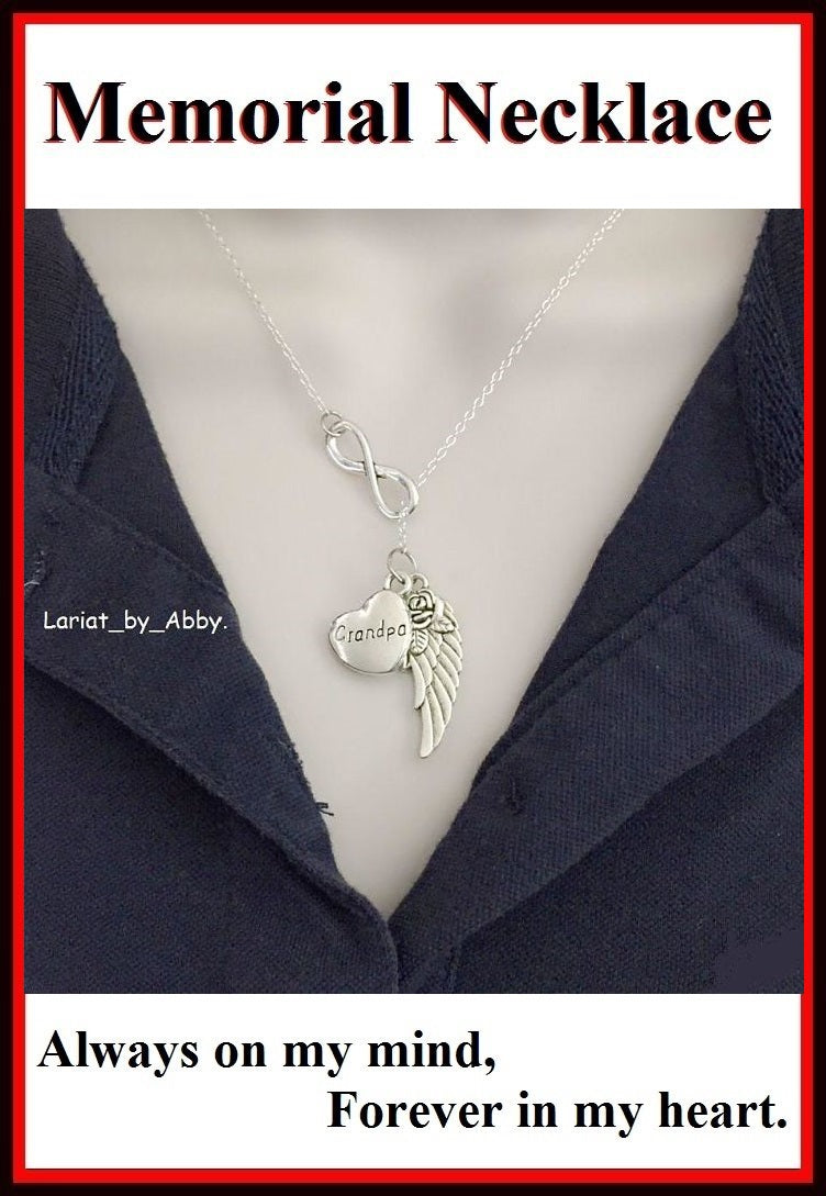 Beautiful Handcraft Grand Pa Guardian Angel Necklace Lariat Style.