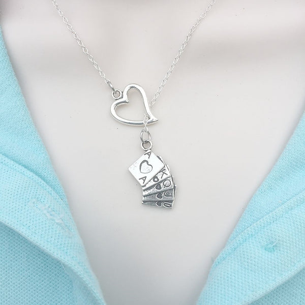 I Love Playing Cards Silver Lariat Y Necklace.