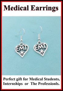 Medical Earring; EMT Heart Charms Dangle earrings.
