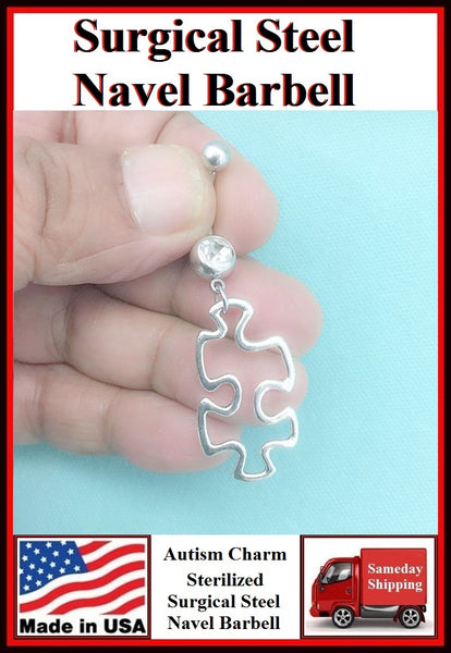 Autism Hallow Puzzle Silver Charm Surgical Steel Belly Ring.