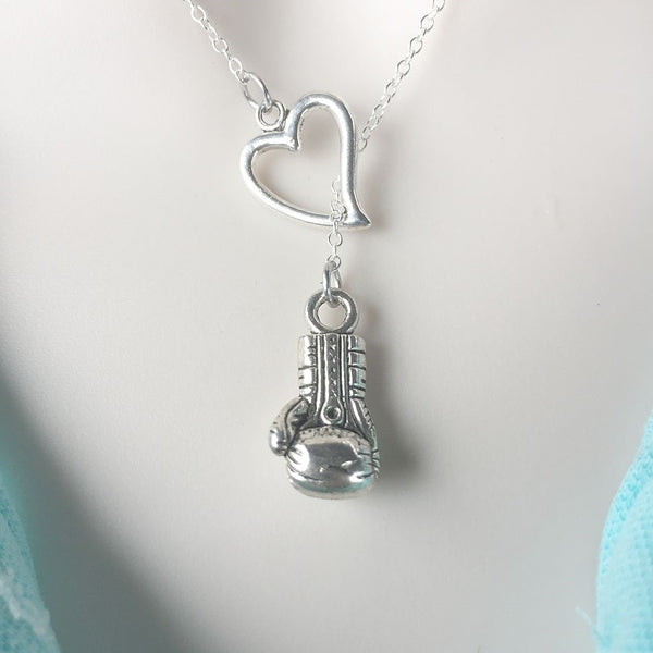 I Love Boxing Silver Glove Lariat Y Necklace.