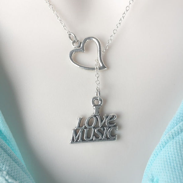 I Love Music Silver Lariat Y Necklace.