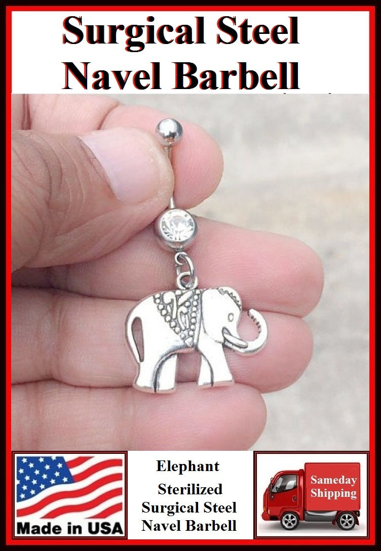 Elephant Silver Charm Surgical Steel Belly Ring.