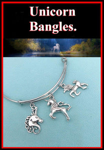 Mythical Creatures UNICORNs Silver Charm Bangle.