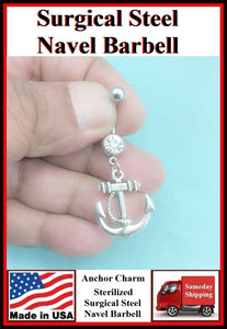 Anchor Silver Charm Surgical Steel Belly Ring.