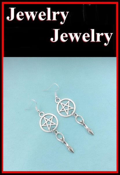 Pentagram and Goddess Silver Charms Earrings.