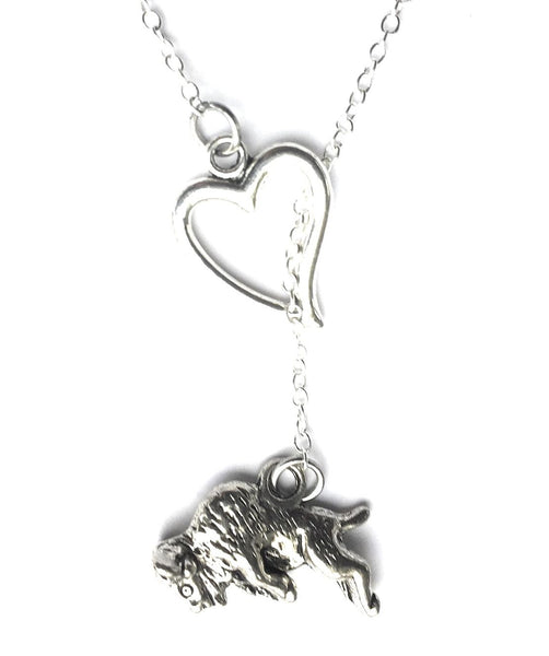 I Love Raging Bull Silver Lariat Y Necklace.