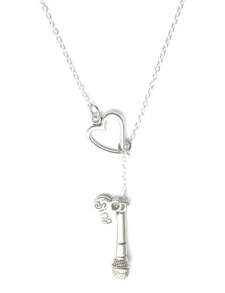 I Love to Sing Silver Lariat Y Necklace.