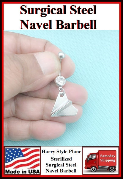 Harry Style Paper Plane Silver Charm Surgical Steel Belly Ring.