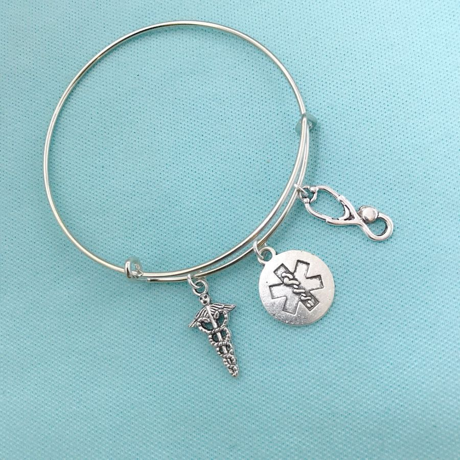 EMT Caduceus and Related Charms Expendable Bangle.
