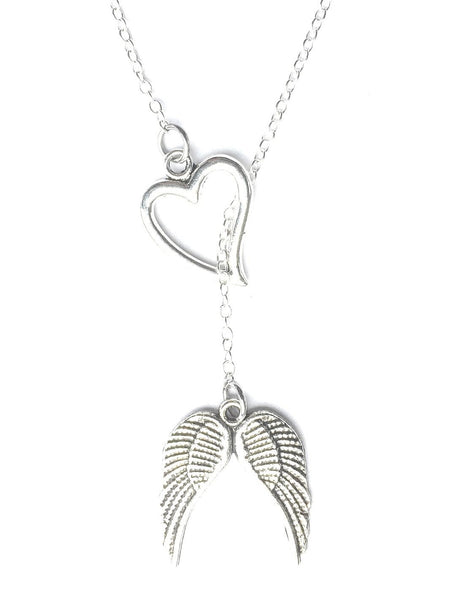 I Love Angel Wings Silver Lariat Y Necklace.