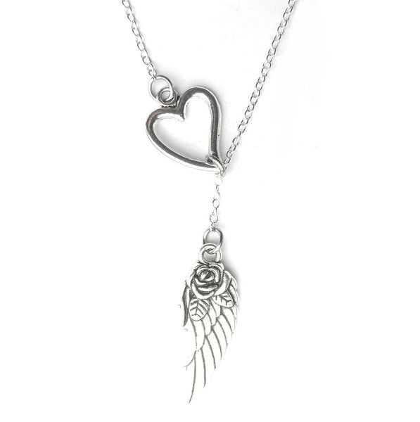 I Love Angel Wing Silver Lariat Y Necklace.
