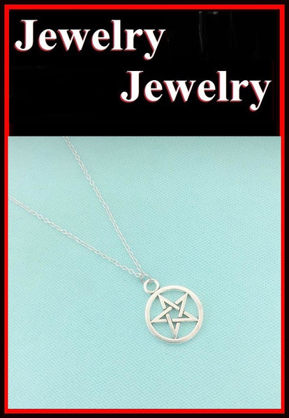 "7/8"" PENTACLE PENTAGRAM Silver Charms Necklace"