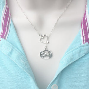 I Enjoy Music Silver Lariat Y Necklace.