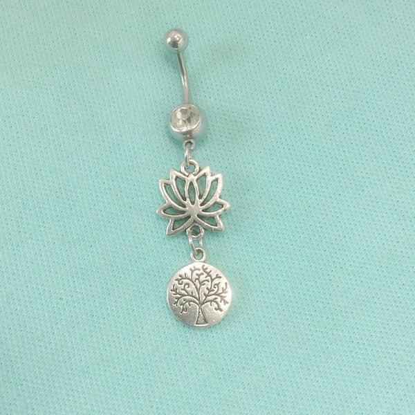 STUNNING LOTUS Flower & Small TREE of LIFE Surgical Steel Belly Ring