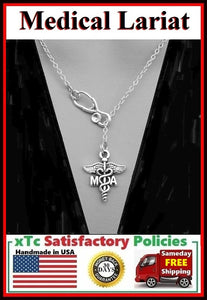 Stethoscope and MA (Medical Asst.) Symbol Necklace Lariat Style