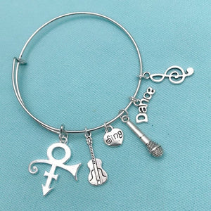 Famous and Great Singer's Symbol Charms Expendable Bangle Bracelet.