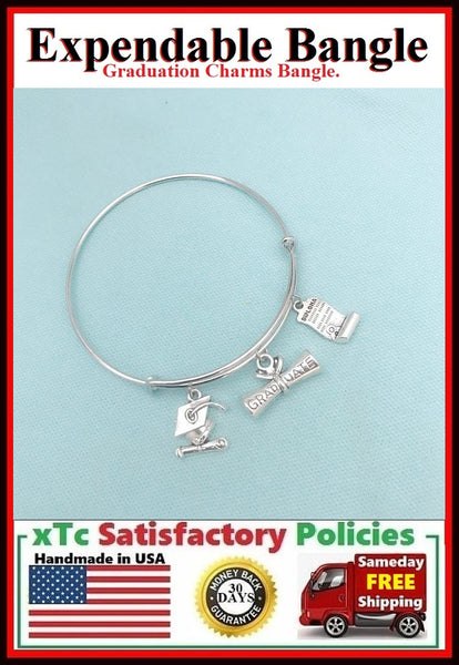 GRADUATION Charms Bangle Bracelet. Graduate Gift.