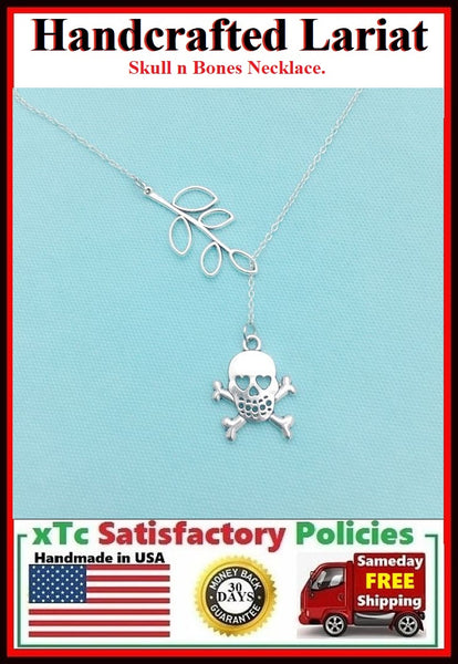 Skull n Bones Handcrafted Necklace Lariat Style.