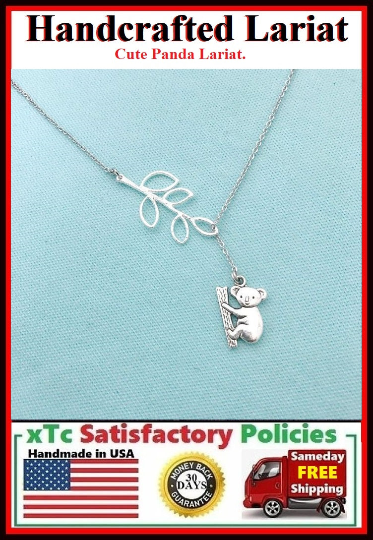 Beautiful Tree Branch & Koala Bear Silver Lariat Necklace.