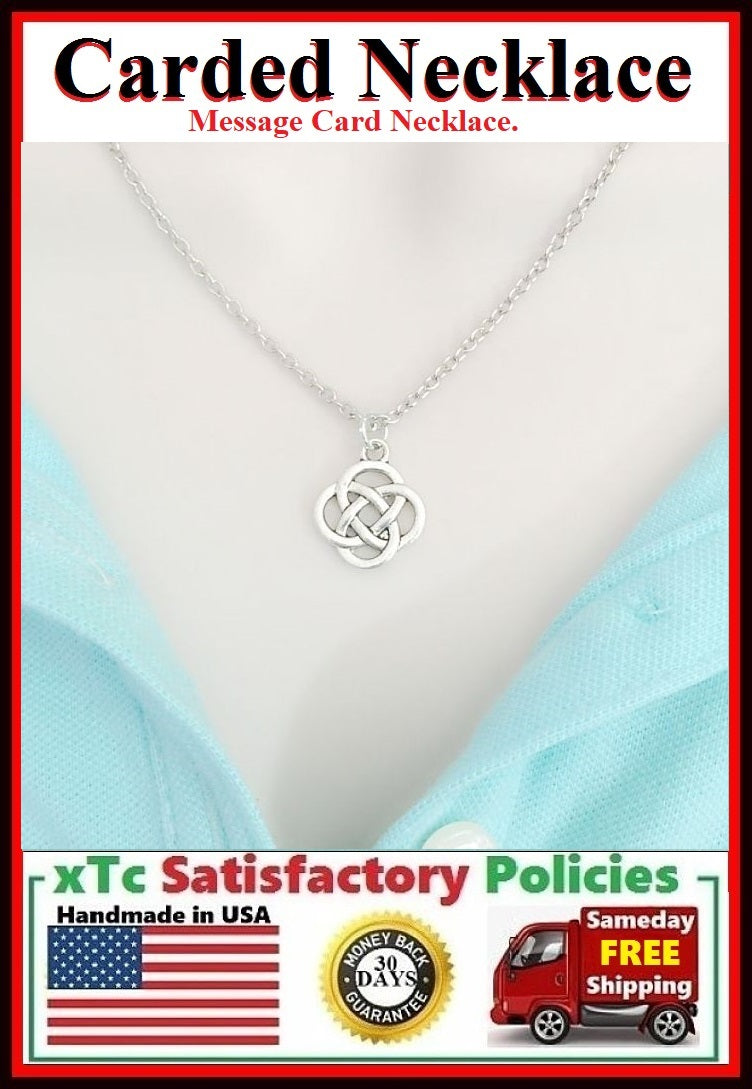 Love Knot Necklace; Handmade Silver Celtic Love Knot Charm Necklace.