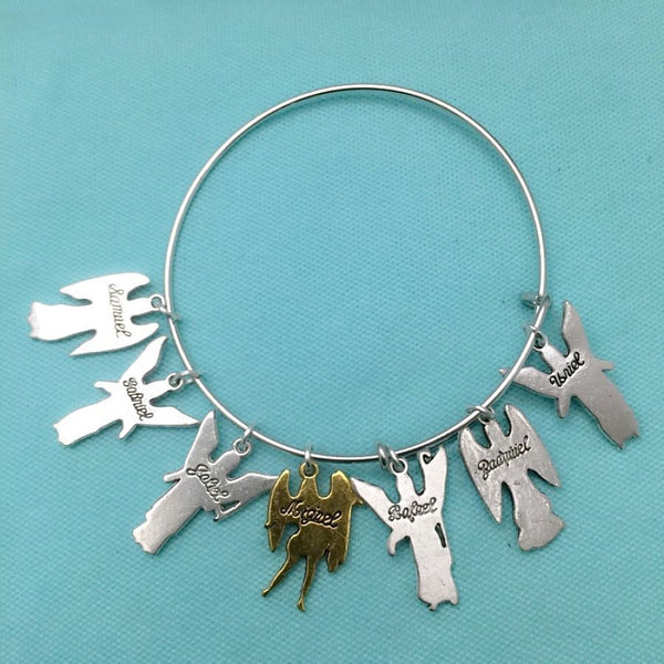 Angelic Protection: 7 Archangels Charm Expendable Bangle.