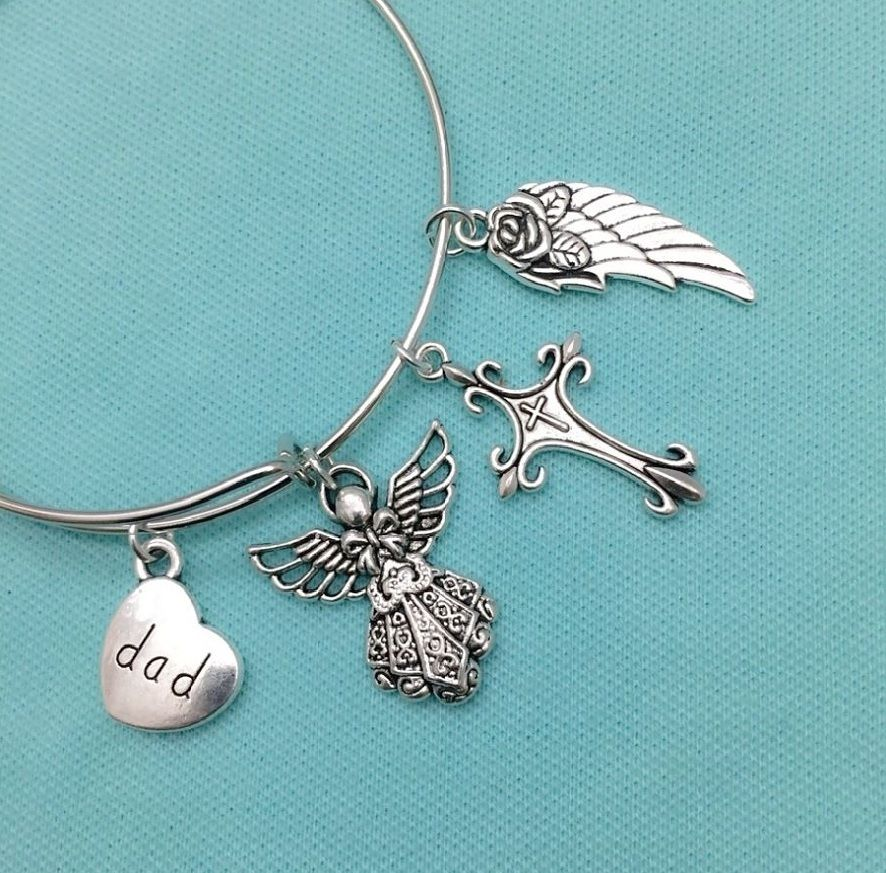 Family Member Memorial Memorial related Silver Charms Expendable Bangle Bracelet