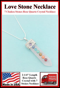 "Rose Quartz 2-1/4"" Crystal 7 Chakra Stones Necklace to Boost Love Life."