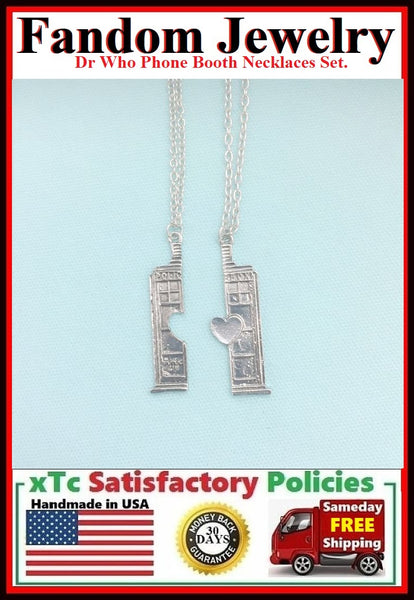 DR. Who Phone Booth Charm Silver Necklaces Set.